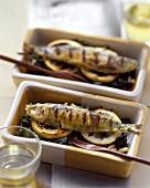 Grilled sardines on chard