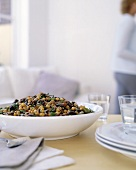 Chick pea salad in a white dish