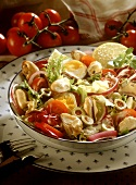 Mixed salad with mussels and boiled egg