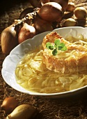 Onion soup with cheese on toast