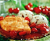 Chicken breast in coconut panade with cherry sauce & rice