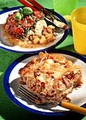 Tuna bread pudding and fish and tomato bake