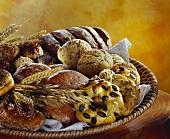 Verschiedene Brote und Brötchen mit Ähren im Brotkorb