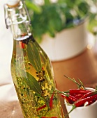 Bottle of herb oil with chili peppers