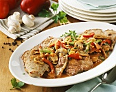 Jägerschnitzel (Escalope chasseur) with mushrooms & peppers