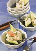 Cucumber snacks with smoked trout cream