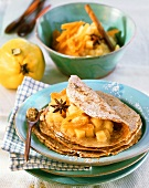 Sesame pancakes with quince compote