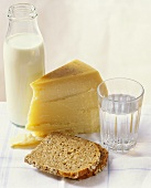 Wholemeal bread, cheese, milk and glass of water