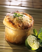 Lime and mint soufflé in glass dish