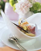 Rhubarb compote with vanilla  in white bowl