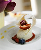 Yoghurt mousse with fresh berries and fruit sauce