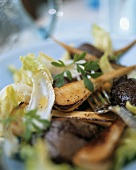 Parsnip salad with roasted chicken liver