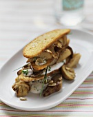 Mushroom and bread chip lasagne with chive quark