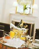 Luxurious champagne breakfast with caviar