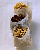 Various cereals in bags