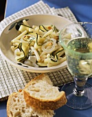 Courgette salad with macaroni, feta and dill (Greece)