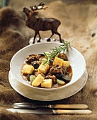 Lamb ragout with grapes and polenta squares