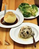 Potato dumplings and cep dumplings