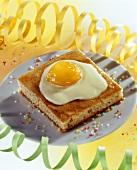 A piece of fried egg cake (apricot cake)