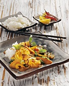 Fish curry with vegetables and rice from Indonesia