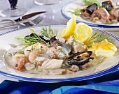 Pan-cooked fish dish with seafood and dill sauce (Sweden)
