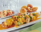 Shashlik with turkey, bacon, peppers and apricots