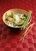 Glass noodle soup with green asparagus and mangetout peas