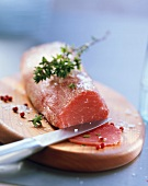 Chilled veal fillet for carpaccio with thyme