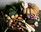 Still life with root vegetables, savoy, pumpkin etc.