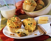 Colourful vegetable muffins with pine nuts