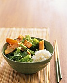 Vegetables with sesame, coriander leaves & rice (Asia)