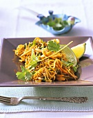 Fried noodles with vegetables and coriander leaves