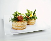 Vol-au-vents, filled with salad