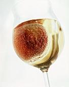 Kullerpfirsich ('rolling' peach in champagne) in glass