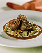 Venison roulades with Chinese artichokes