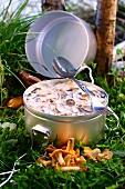Mushrooms in cream sauce for picnic
