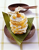 Small pineapple cake with cream and Physalis