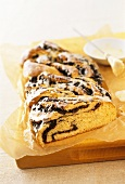 Poppy seed plait with glacé icing