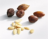 Argan almonds, shelled and unshelled
