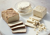 Various types of tofu and soya quark