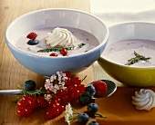Cold kefir soup with summer berries