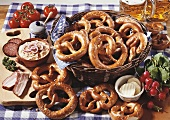 Bavarian 'Brotzeit' with pretzels, Obatzda, radishes & beer