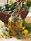 Gherkins in jar and basket