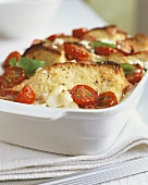 Spicy bread pudding with tomatoes and basil