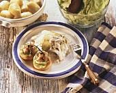 Matje herrings in cream sauce, boiled potatoes and salad