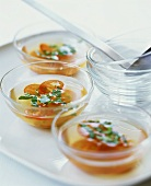 Tomato water (cold soup with tomatoes, cucumber and basil)