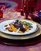 Beef fillet in red wine sauce with pumpkin for Christmas