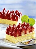 Two pieces of strawberry cake