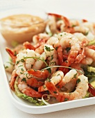 Prawns with herbs and Thousand Island Dressing