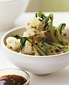 Wide ribbon pasta with pak choi and chili sauce